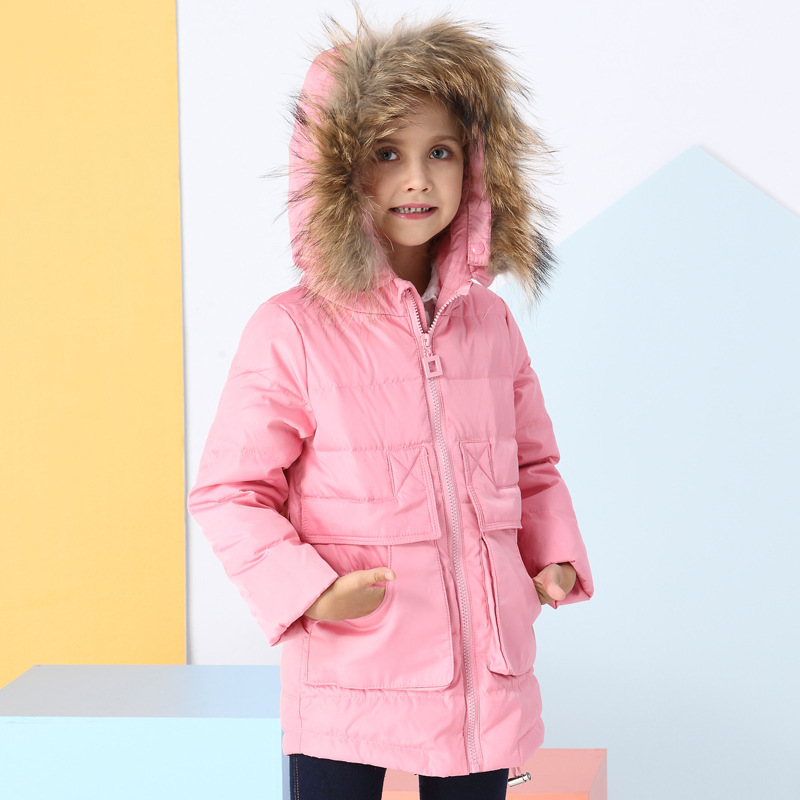 2018 Winter Girls down jacket Long White Duck Down & Parkas Girls Down Jackets & Coats baby Fur Collar Outwear 3-8 Years girl winter coats 2018 cat printing and jackets kids outwear warm down jacket girls clothes parkas children baby girls clothing