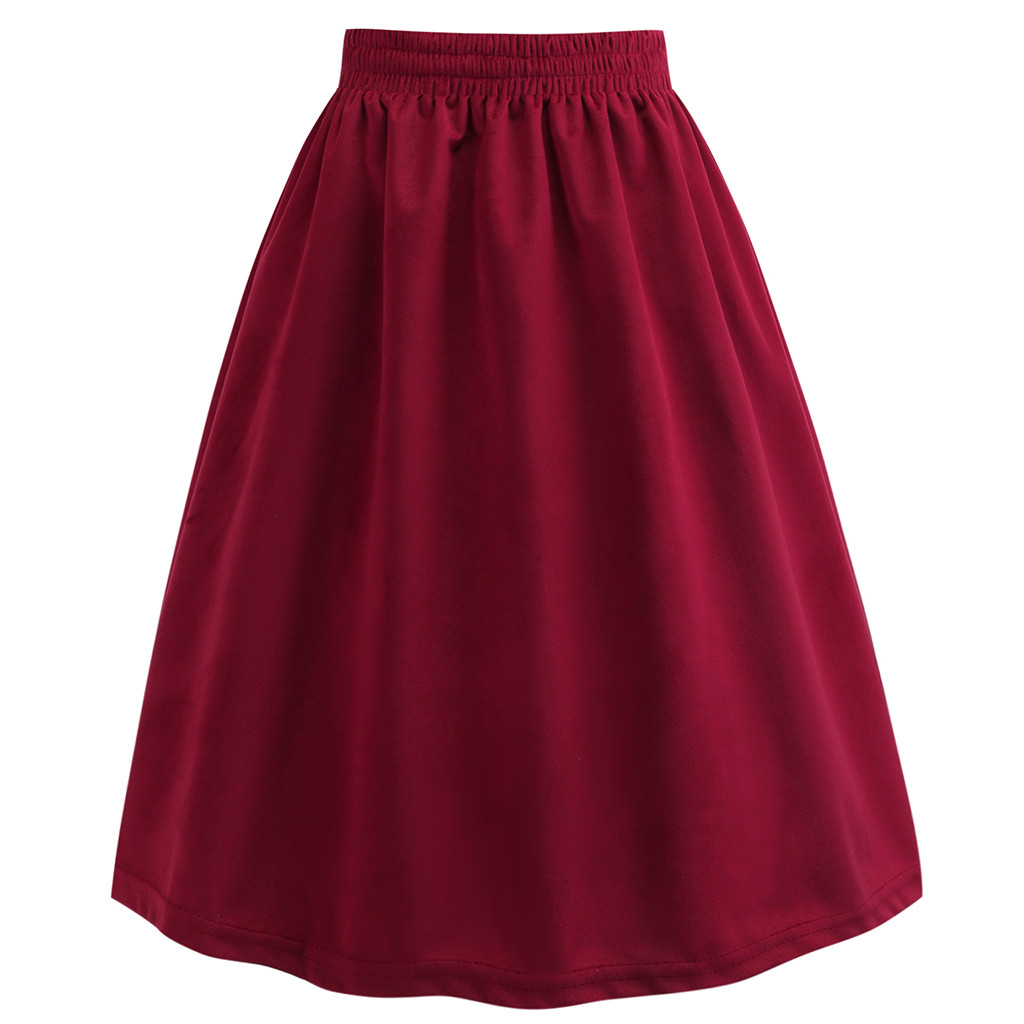 Women  Solid Color Pleated Skirts Ladies Casual A-Line Vintage Velvet Skirt Fashion High Waist Plain Casual Skirt #Z