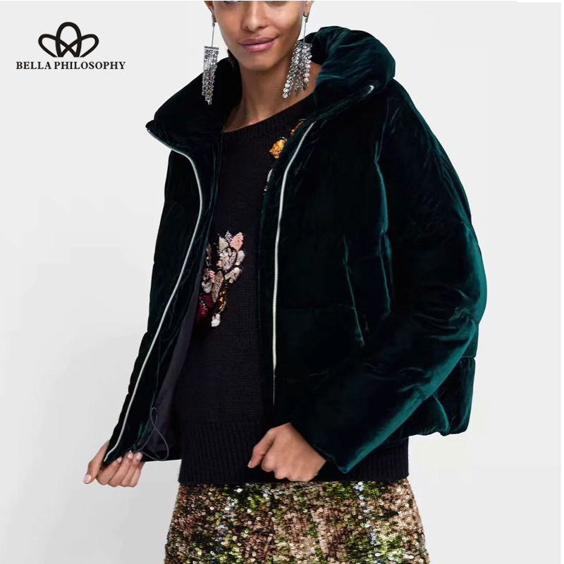 Bella Philosophy 2018 Winter Thick Worm Solid Faux Fur Women Coat Short Velvent Parka Padded Flannel
