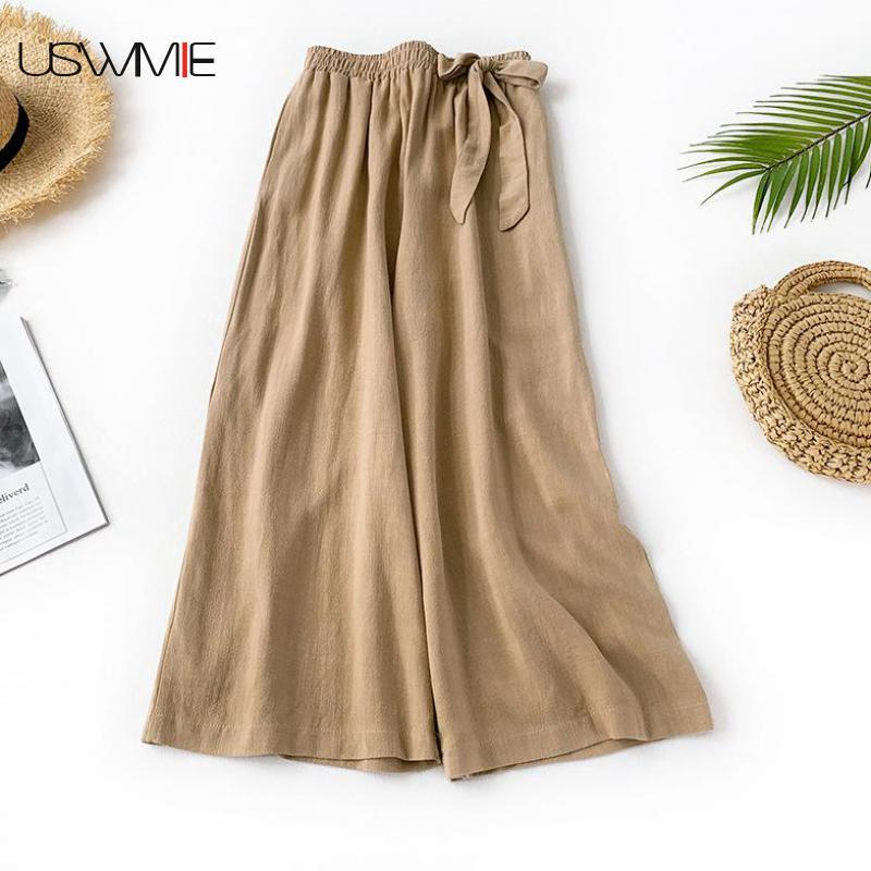 2019 Summer New   Wide     Leg     Pants   Literary Leisure Elastic Waist Solid Color Flax Loose Plus Size Comfort Nine Broad Legged   Pants