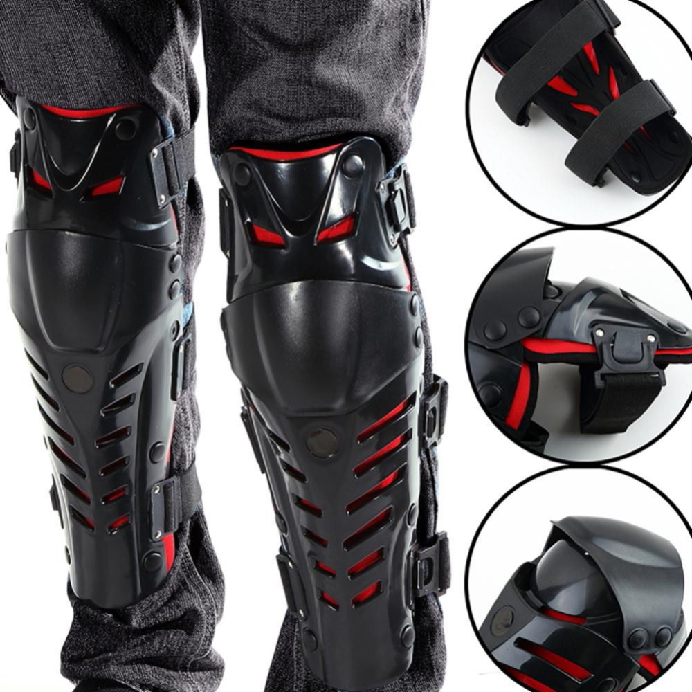 1 pair Protector Knee Motorcycle Gear Joint Bracers Ski Cross Country Outdoor Sports Ride Support Leggings Knee Pads Black/Red|Motorcycle Protective Kneepad| |  - title=