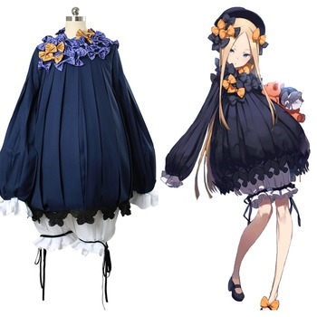 Fate Grand Order FGO Abigail Williams Cosplay Costume Outfit Navy Dress Gown Full Set