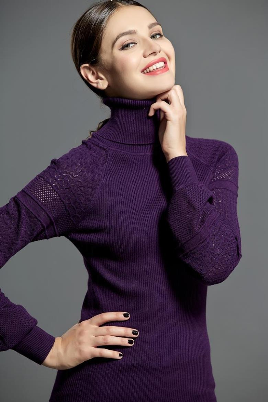 Otoño Invierno Suéter Mujeres Suéteres Elástico Tuntleneck Linterna Manga Hizo