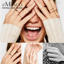 e-Manco Trendy Stainless Steel Rings for women Vintage Geometric pinky ring Dainty stackable Round midi rings jewellery(China)