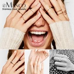 E-manco à la mode en acier inoxydable anneaux pour femmes Vintage géométrique pinky anneau délicat empilable rond midi anneaux bijoux