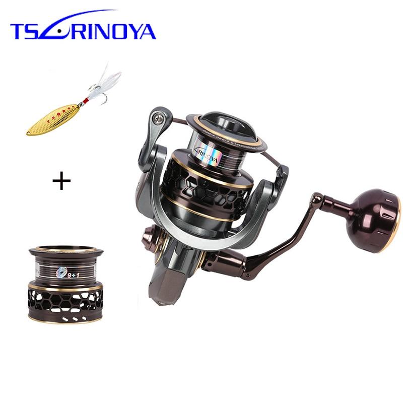 TSURINOYA Jaguar 3000 4000 5000 Fishing Reel Spinning Carp Squid Saltwater Metal Handle 2 Spool Reels Coil Spinning Reel Pesca
