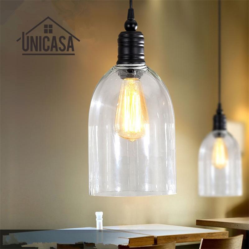 все цены на Clear Glass Modern Pendant Lights Industrial Lighting Fixtures Kitchen Island Pendant Light Antique Mini Pendant Ceiling Lamp онлайн