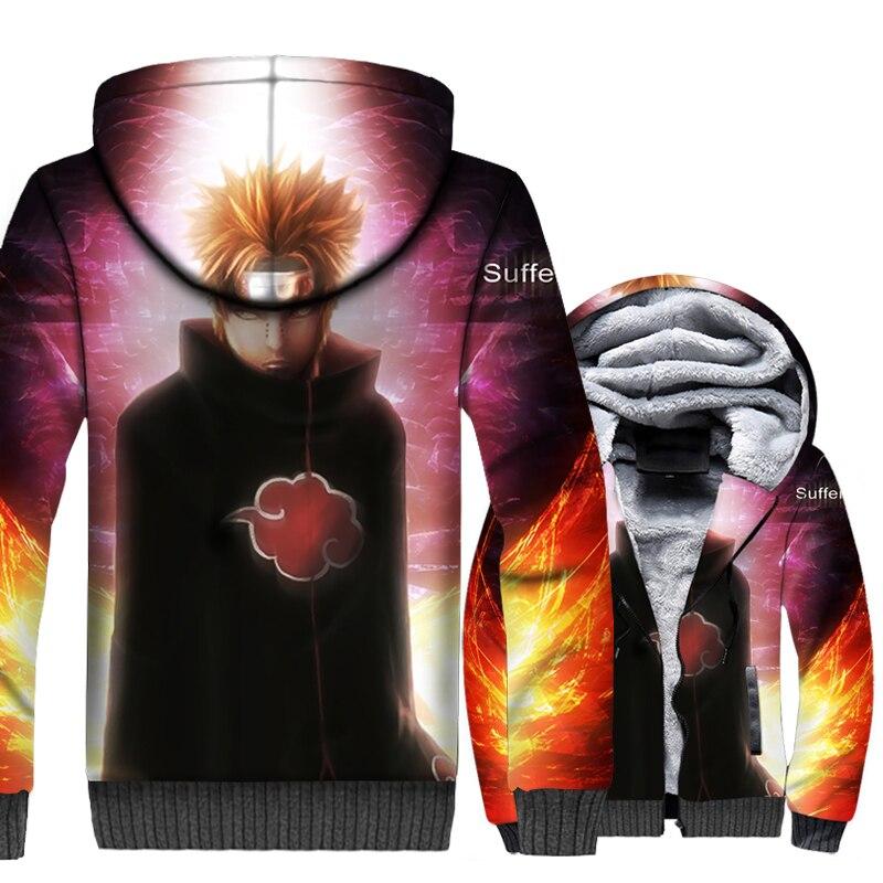 Anime Naruto Thitara Sanri Nagato sweatshirt men 2019 winer Thick swag coats casual wool liner jackets 3D Printed zip tracksuits in Hoodies amp Sweatshirts from Men 39 s Clothing