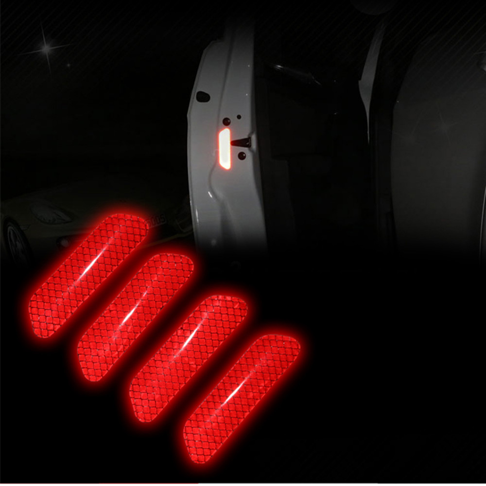 2pcs//Set Safety Reflective Tape Open Sticker Door Open Warning Mark Car Styling Car Sticker Auto Decor Red