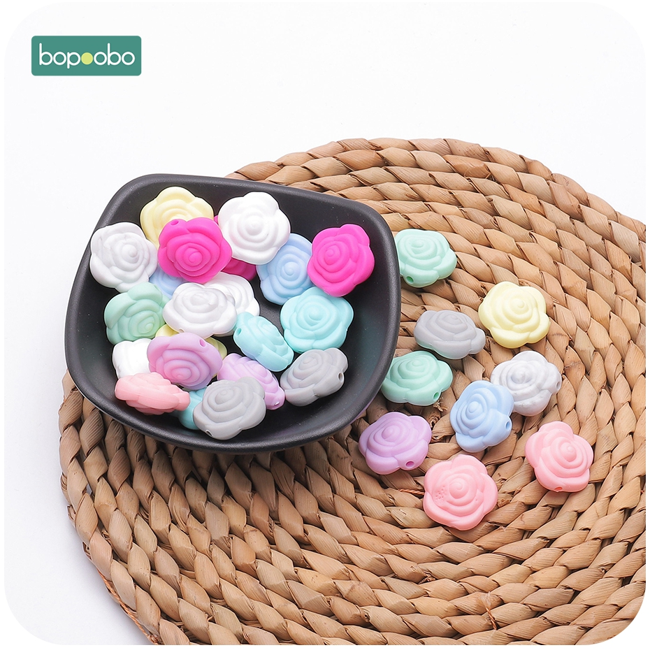 Bopoobo 10pc Silicone Beads Flower Baby Teethers Tiny Rod Beads BPA Free Rose Baby Teething Toys Accessories For Pacifier Chain