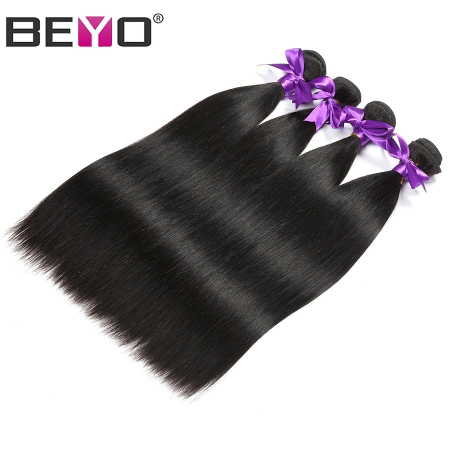 Beyo волос перуанский прямые волосы пучки естественный Цвет человеческих волос Связки 10-28 дюймов не Волосы remy Weave 4 Связки бесплатная доставка