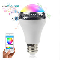 DVOLADOR LED RGBW Music Bulb E27 10W Wireless Smart Dimmable Bluetooth Control Built In Audio Speaker