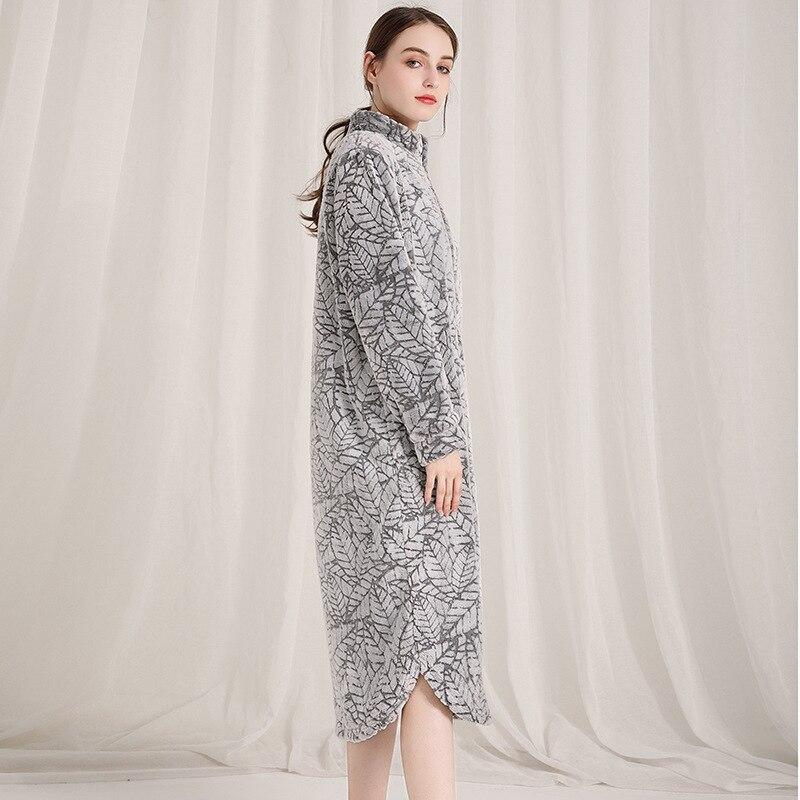 Image 3 - Fashion Coral velvet long robes women sexy sleepwear long sleeve thicken warm Quality zipper bathrobes women winter kimono robes-in Robes from Underwear & Sleepwears on AliExpress