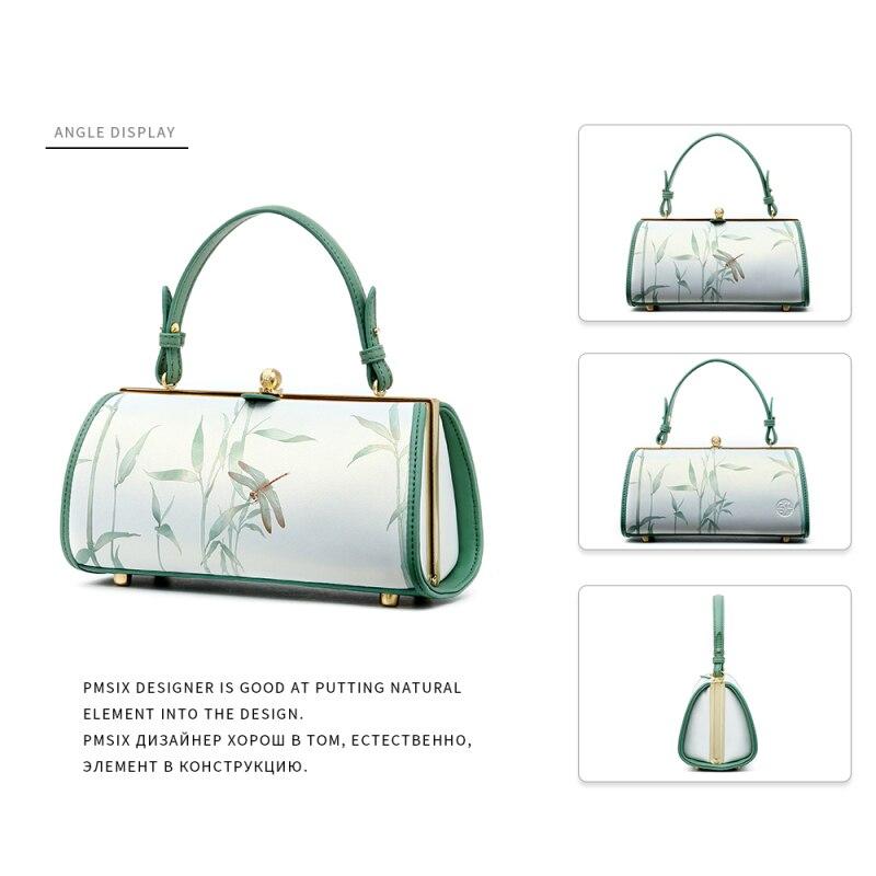2019 Vintage Floral Riemen Mujer Handtaschen Tasche Designer Druck Bolsos Haspe Schulter Elegante Frauen Langen Green Mode Pmsix dxwq41E5d
