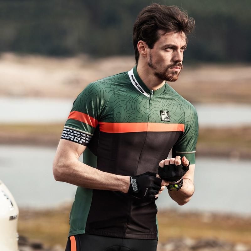 Santic Men Cycling Short Jersey Pro Fit Antislip Sleeve Cuff Road Bike MTB Short Sleeve Breathable