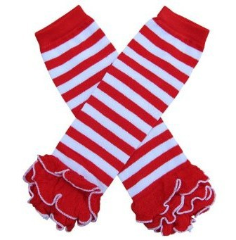 Girls' Baby Clothing Popular Brand Red With White Stripe Ruffle Leg Warmer Baby Cotton Leg Warmers 60 Pair/lot Queenbaby