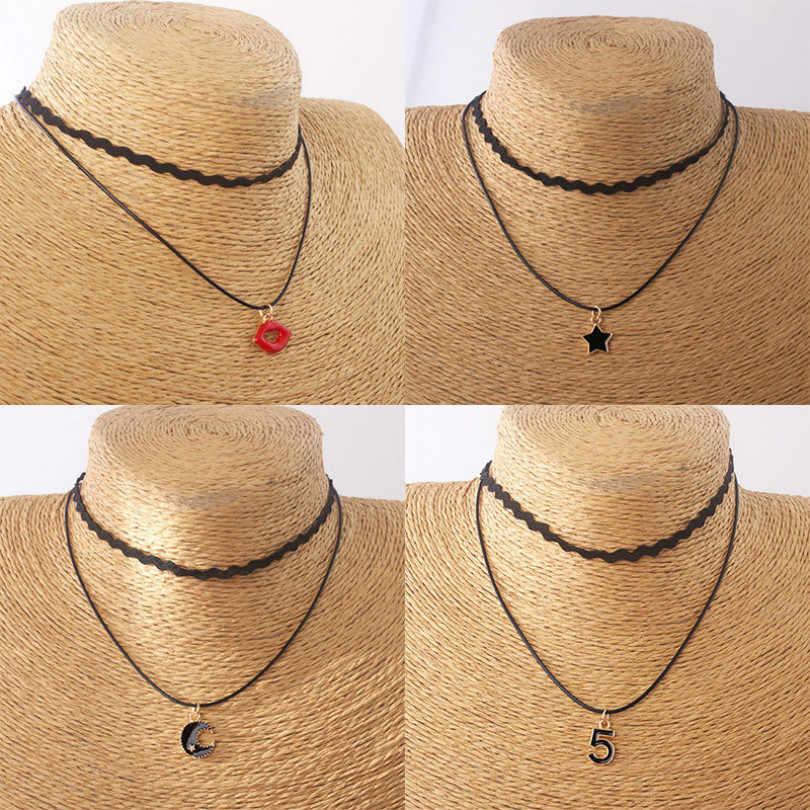 Moda biżuteria wielowarstwowe naszyjnik Pentagram czerwone usta krótki naszyjnik Bohemian Wave naszyjnik kobiet elegancki naszyjnik