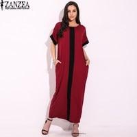 2017 ZANZEA Women Vintage Round Neck Short Sleeve Casual Loose Kaftan Summer Ladies Stripe Splice Maxi