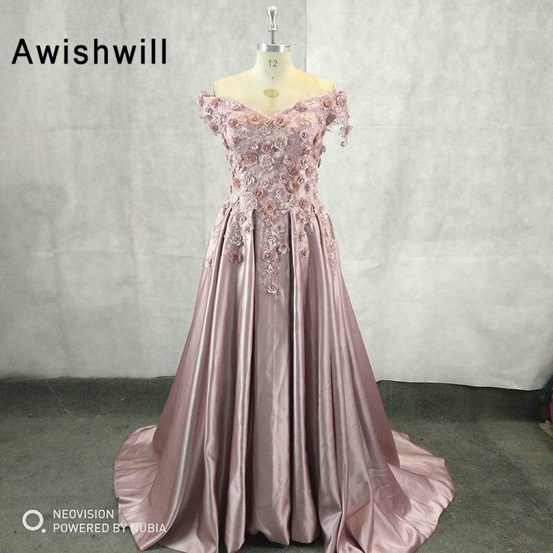 Vraies Photos hors de l'épaule élégante longue robe de soirée col en V fleurs dentelle Satin une ligne robes de soirée pour les femmes robes de soirée