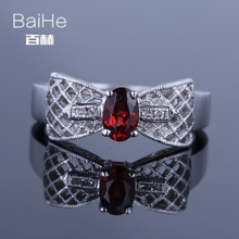 BAIHE Sterling Silver 925 0.6ct Red Flawless Oval CUT 100% Genuine Garnet Women Wedding Cute/Romantic Fine Jewelry gifts Ring