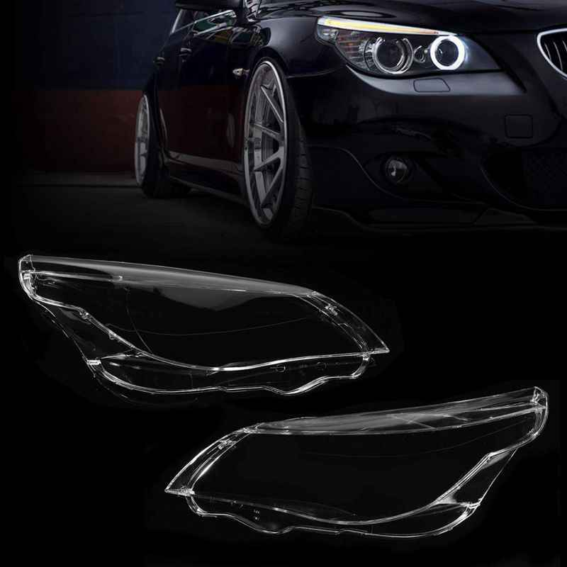 Pair L&R Car Lights Headlight Lens Shade Head Light Lamp Cover Shell For BMW E60 E61 520i 520d 523i 525i 530xi 535d 540i 545i