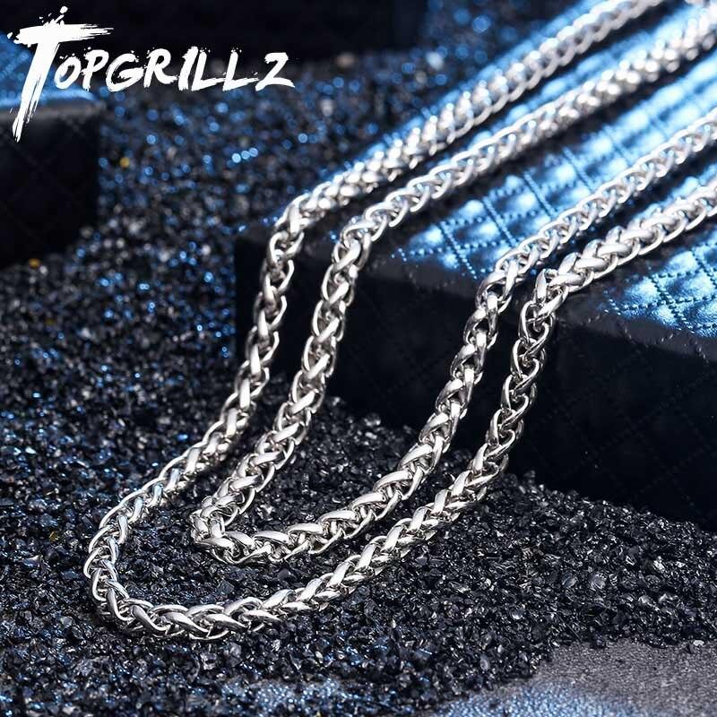 Takı ve Aksesuarları'ten Zincir Kolyeler'de TOPGRILLZ 100% 925 Ayar Gümüş erkek Kolye Bling Buzlu Out Hip Hop Rock Link Franco Zinciri Gümüş Altın Kolye hediye için'da  Grup 1