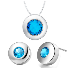 Baby Blue Zircon 925 Sterling Silver Wedding Jewelry Sets Pendant/Necklace/ Stud Earrings For Women Free Gift Bag S925 SCT425