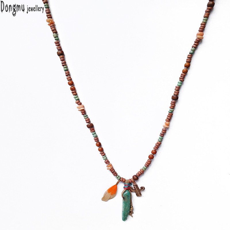 Dongmu New fashion handmade posey milan wood bead chain natural stone charm pendant necklace party birthday gift jewelry