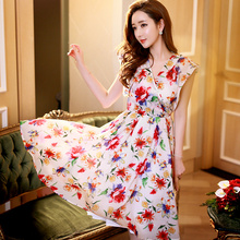 dabuwawa summer dress 2016 v collar retro casual sleeveless bow tie chiffon print office dresses women pink doll wholesale