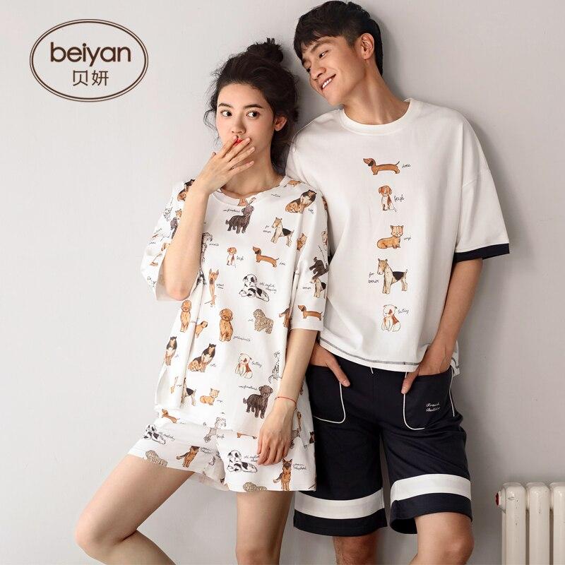 Young Lovers Pajamas Women Sleeveless Summer Pyjama Cartoon Males Or FemalesThin Style Couple Pijama Set Sleepwear