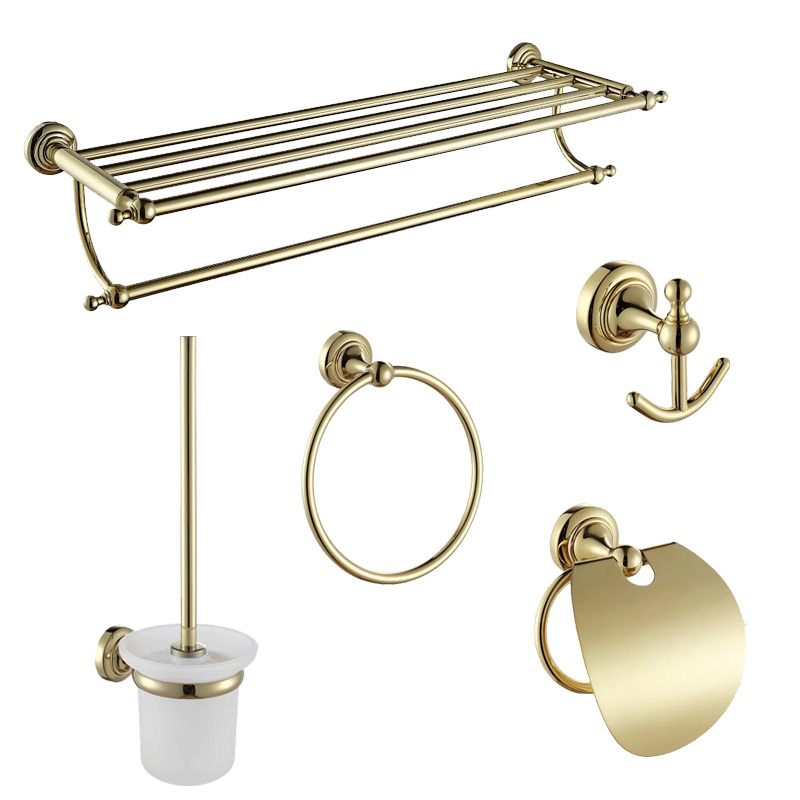 European Solid Copper Bathroom Accessories Shower Set Gold Toothbrush Holder Wall Hanging Bath Toilet Brush and Holder image