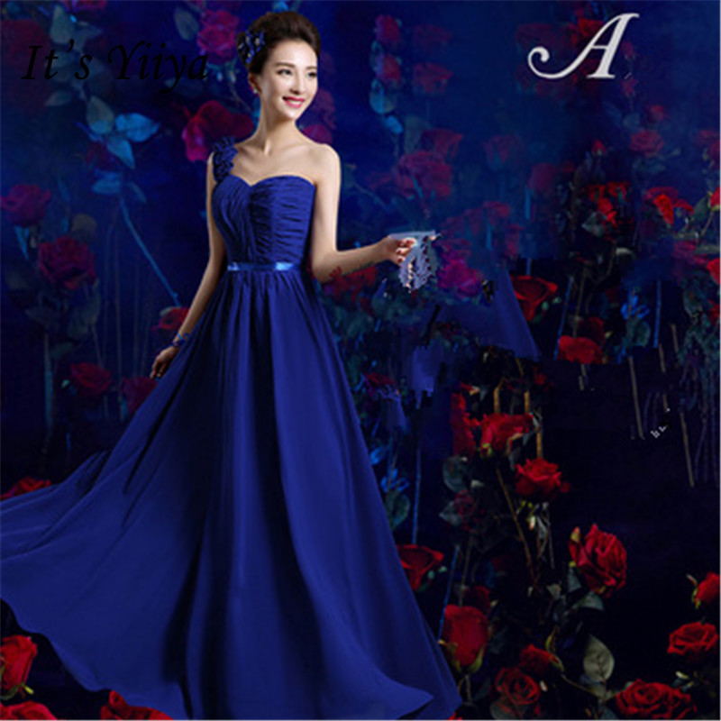 It's YiiYa Sexy One Shoulder   Bridesmaid     Dresses   Elegant Strapless Back Lace Up A-line   Dress   B039