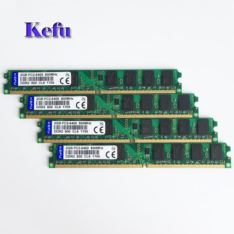 4 pcs 4x2GB DDR2-800 PC2-6400 800MHZ 240PIN DIMM Desktop memory Fit Intel motherboard 2G RAM Non-Ecc Low Density 4pcs 4 x 2gb ddr2 800 pc2 6400 800mhz 240pin dimm ram desktop memory only for amd motherboard