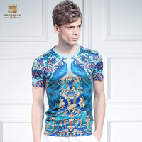 free shipping casual New 2015 male fashion men's short sleeved Summer icy silk shirt symmetrical stamp t shirt peacock on sale