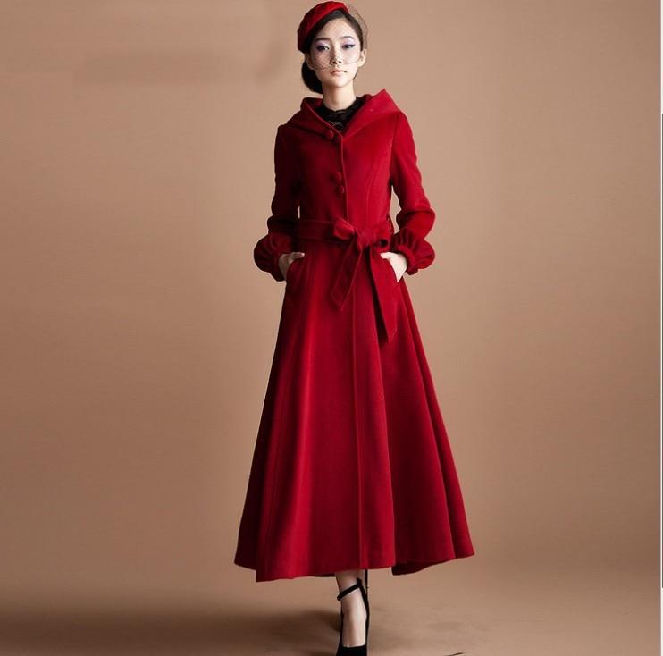 Manteau femme rouge laine cachemire
