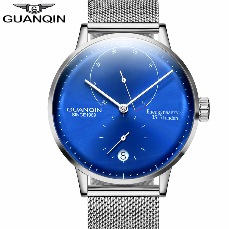 2018 GUANQIN mens watches top brand luxury Automatic Mechanical Watch Casual leather sapphire waterproof Analog Wristwatch men стоимость