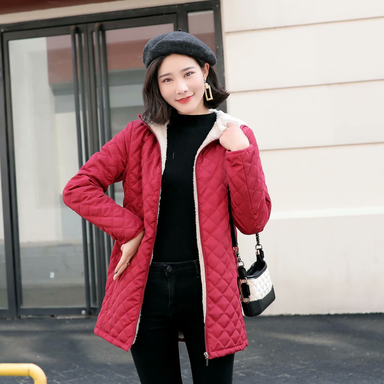 Autumn 2019 Long   Parkas   Basic Jackets Female Women Winter Plus Velvet Lamb Hooded Coats Cotton Winter Jacket Womens Outwear Coat