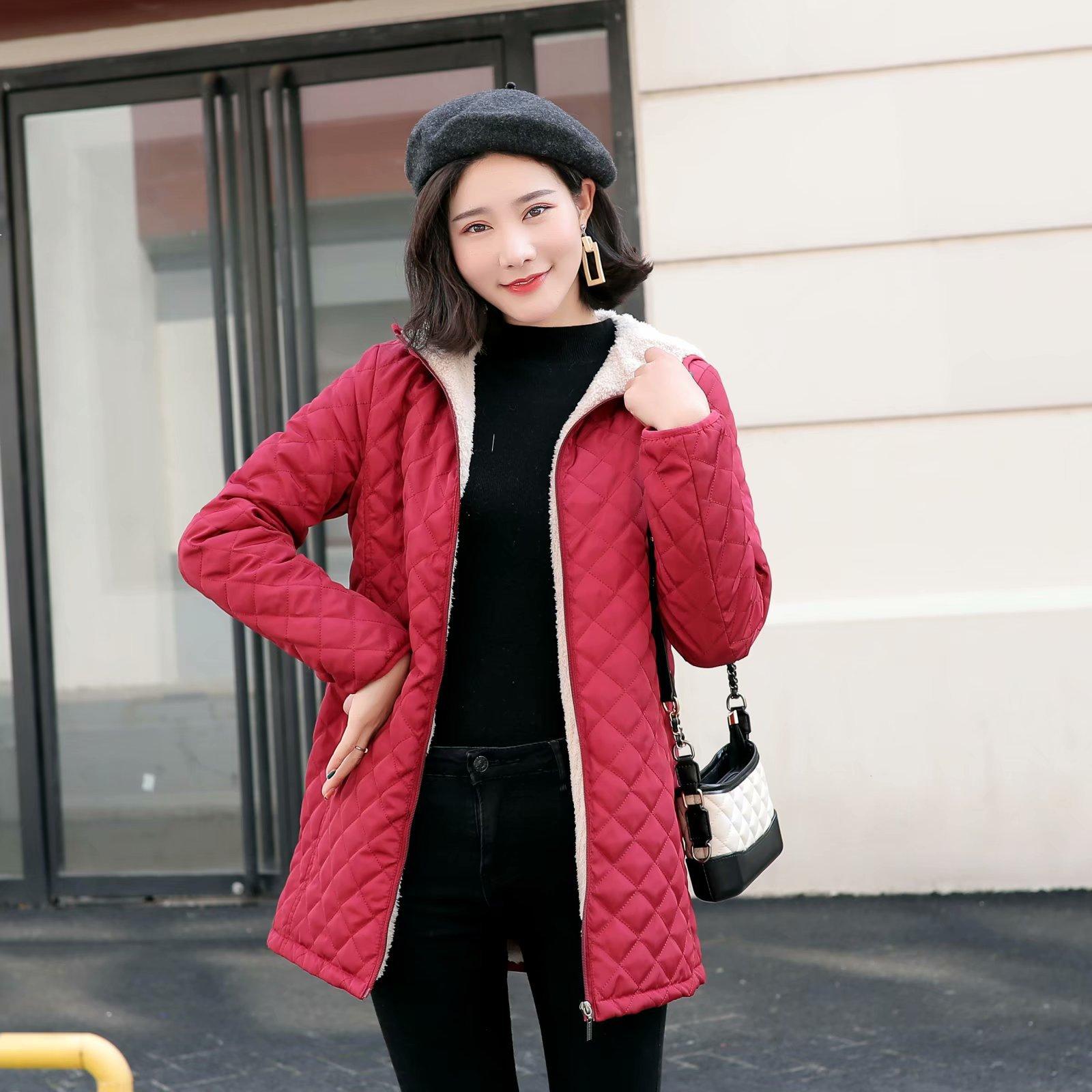 Autumn 2019 Long   Parkas   Basic Jackets Female Women Winter Plus Velvet Lamb Hooded Coats Cotton Winter Jacket Womens Outwear Coat