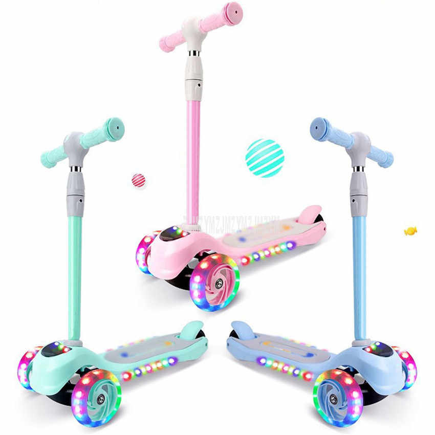 Children Scooter 3 Wheel Kick Scooter Foot Scooter Skateboard Front LED Flashing Wheel Music Function Kids Outdoor Sport Toy