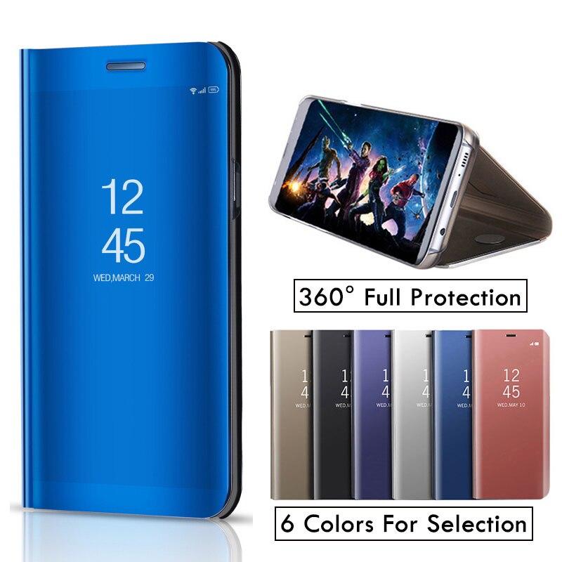Inteligente Flip Caso Capa de Couro Para O Huawei Honor V10 10 V HonorV10 Phone Case Limpar Capa Espelho Retrovisor Suporte para honra V10 5.99''