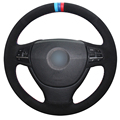 XuJi Black Suede Blue Red Marker Car Steering Wheel Cover for BMW F10 523Li 525Li 2009 730Li 740Li 750Li