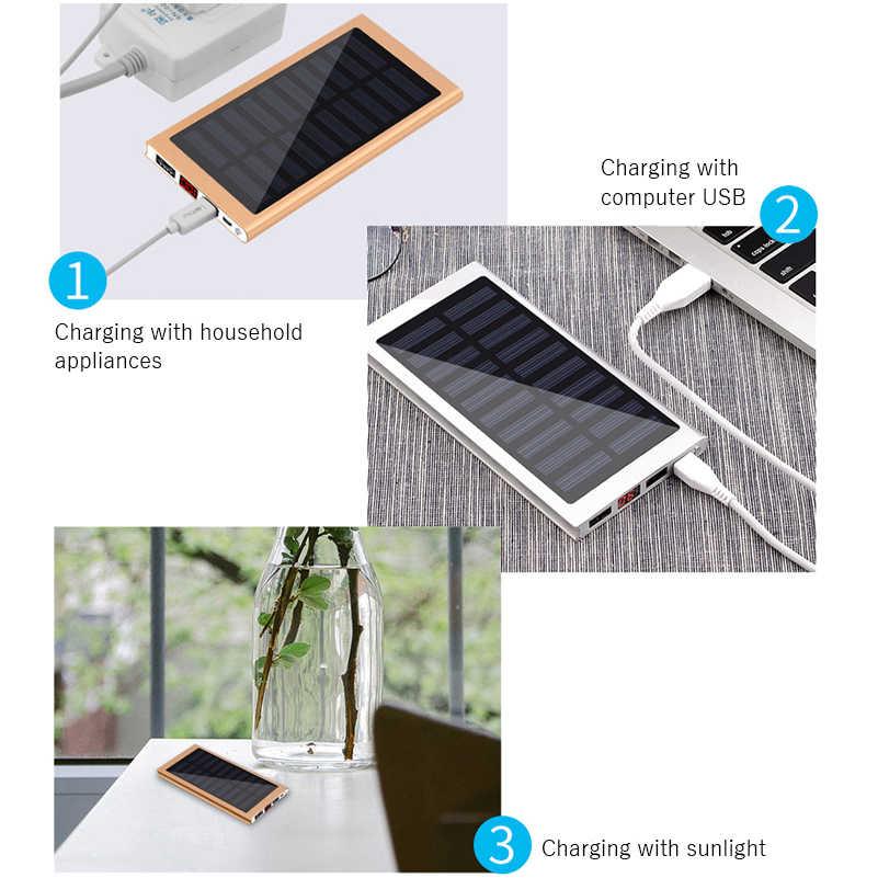 Przenośny Powerbank solarny 20000mah zewnętrzny akumulator zapasowy Powerbank podwójny USB ładowarka słoneczna Powerbank ładowarka baterii do telefonu