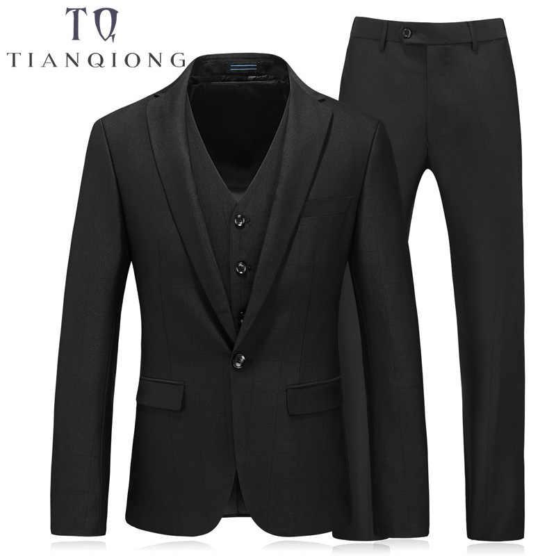 3 個 (ジャケット + ベスト + パンツ) 2018 メンズ黒紫色のスーツスリムフィットスーツ男性ラグジュアリーメンズ結婚式スーツフォーマルドレスサイズ S-4XL