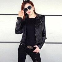 leather jacket Women Rivet Black Leather Motorcycle jacket Stars Slim Bi metal Silver Rivet metallic jacket Pu Leather Coats