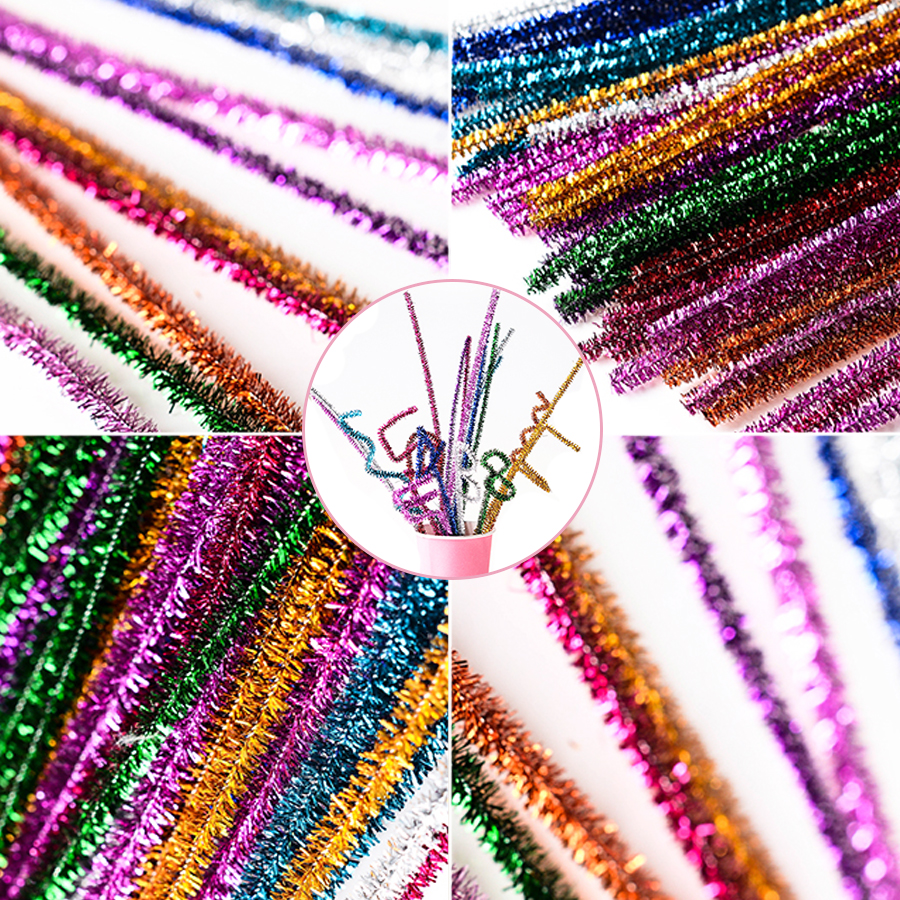 US $1 9 31% OFF|50pcs DIY Craft Supplies Pompom Twisted Stick Handmade  Crafts Plush Bar Wholesale Crafts Handicrafts Accessories Christmas Gift-in  DIY
