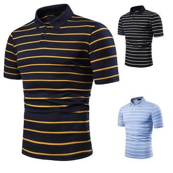 Men's short sleeve polo chest three stripe color matching fashion collocation cross-border lapels men short sleeve POLO