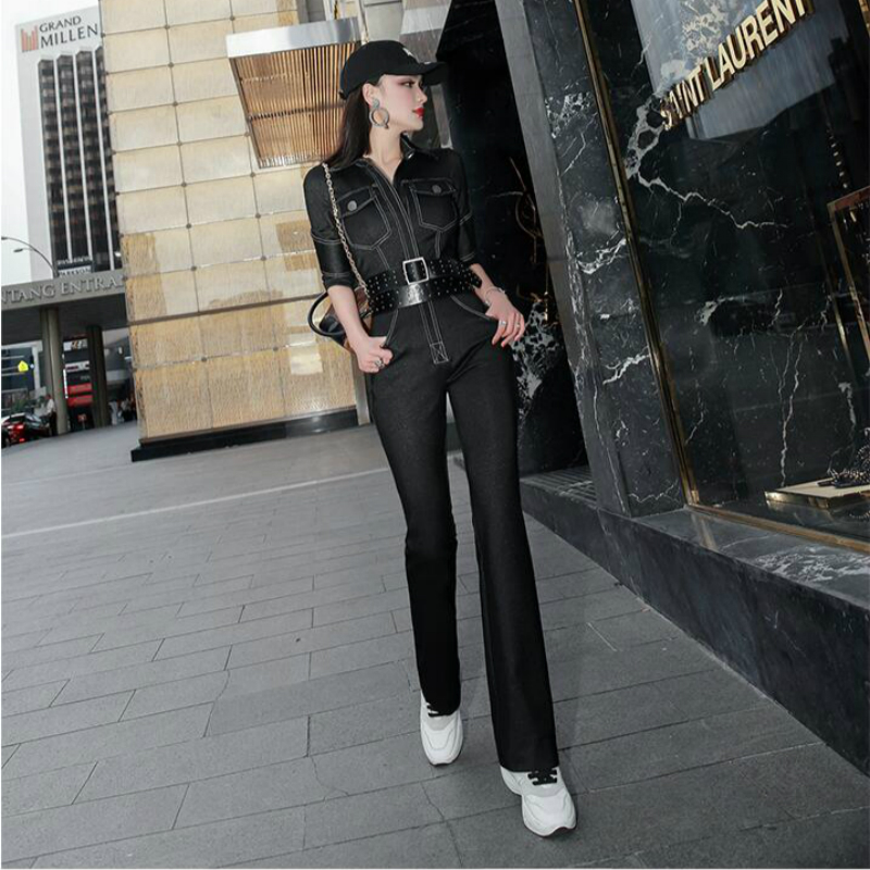 2020 new spring and autumn office lady female women girls brand Soft denim jumpsuits clothing