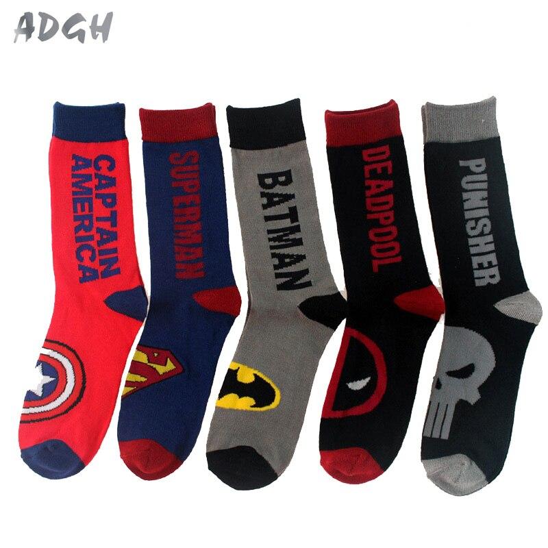 46b15c01856 Harajuku Adult Superhero Socks Comics Cosplay Stockings Superman Batman  Captain America The Punisher Deadpool Skate Long Socks