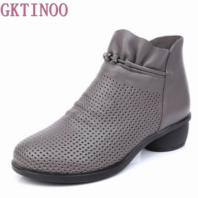 GKTINOO Spring Women Boots Genuine Leather Ankle Shoes Summer Boots Zapatos Chaussures Femme Square High Heel
