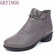 GKTINOO Lente Vrouwen Lederen Enkellaarsjes Schoenen Zomer Laarzen Zapatos Chaussures Femme Vierkante Hoge Hak Vrouwen Schoen 35 43